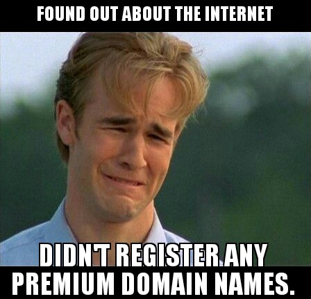 1990's Problems Meme - quote: Found out about the Internet, Didn't register any premium domain names.